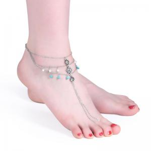 Rhinestone Faux Pearl Turquoise Slave Anklet -