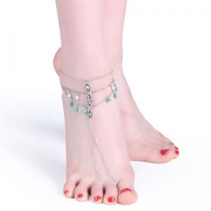 Rhinestone Faux Pearl Turquoise Slave Anklet