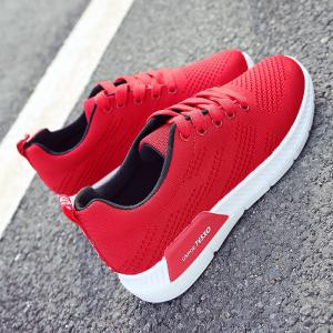 Hollow Out Breathable Mesh Sneakers - RED 38