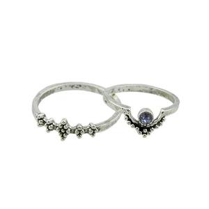 Faux Gem Sparkly Teardrop Ring Set - Argent