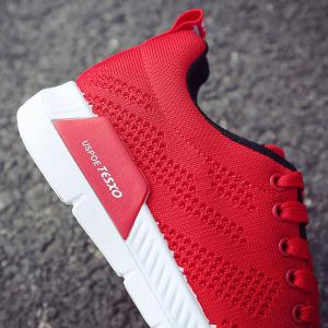 Hollow Out Breathable Mesh Sneakers - RED 41