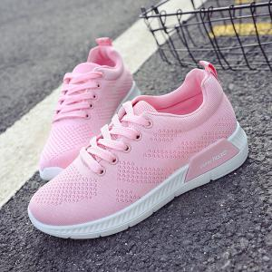 Hollow Out Breathable Mesh Sneakers - PINK 40