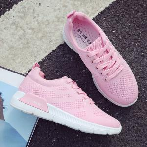 Hollow Out Breathable Mesh Sneakers - PINK 37