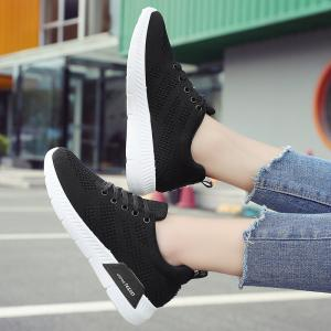 Hollow Out Breathable Mesh Sneakers - BLACK 40