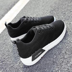 Hollow Out Breathable Mesh Sneakers - BLACK 38