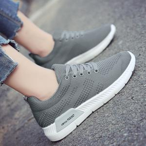 Hollow Out Breathable Mesh Sneakers - GRAY 41