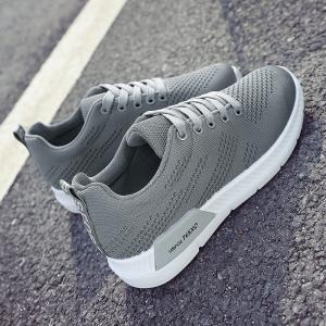 Hollow Out Breathable Mesh Sneakers - GRAY 40