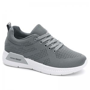 Hollow Out Breathable Mesh Sneakers - Gray - 38