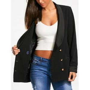 Back Slit Double Breasted Lapel Blazer - Black - Xl
