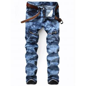 Zip Pocket Tie Dyed Biker Jeans - Blue - 34