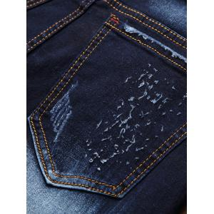 Zip Fly Flap Pocket Biker Jeans - Azuré 32