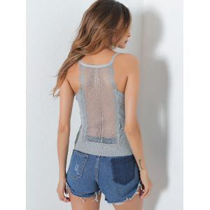 Ribbed Lace Insert Hollow Out Cami Top - GRAY ONE SIZE