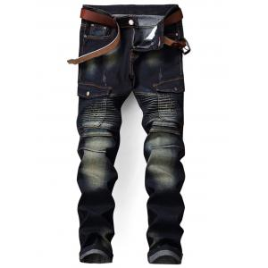 Zip Fly Flap Pocket Biker Jeans