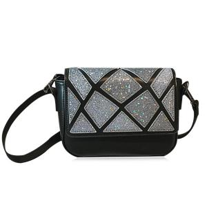Faux Leather Geometric Pattern Crossbody Bag