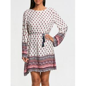 Bohemia Print Long Sleeve Tunic Dress - White - M