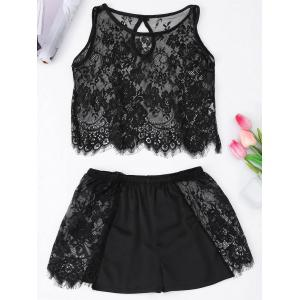 Sheer Cropped Lace Tank Top with Shorts - Black - One Size