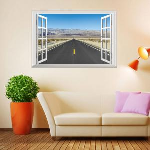 Window Highway Moutains Removable 3D Wall Art Sticker