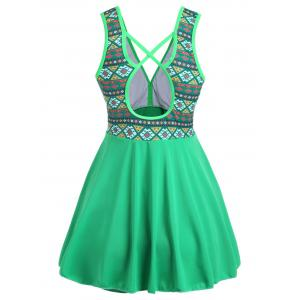 Plus Size Cross Back Skirted One Piece Swimsuit - GREEN 5XL