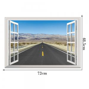 Window Highway Moutains Removable 3D Wall Art Sticker - COLORMIX 48.5*72CM