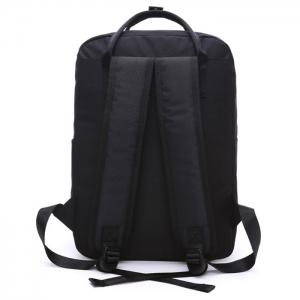 Double Pocket Top Handle Backpack - BLACK