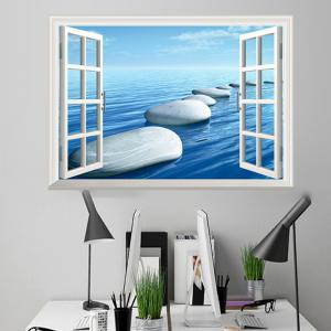 Window Ocean Stone Removable 3D Wall Art Sticker