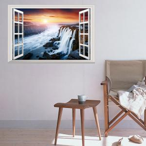 Window Sunset Falls Removable 3D Wall Art Sticker
