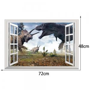 Window Dinosaurs 3D Wall Art Sticker For Kids Room - COLORMIX 48.5*72CM