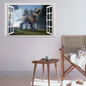 Window Forest Dinosaur Removable 3D Wall Art Sticker - COLORMIX 48.5*72CM