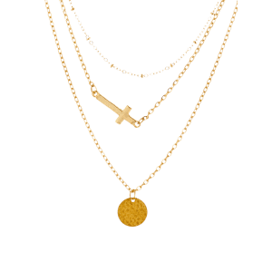 Crucifix Disc Circle Layered Pendant Necklace - GOLDEN