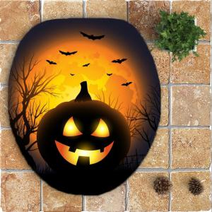 Halloween Pumpkin Withered Tree Printed 3Pcs Toilet Bathroom Mats -