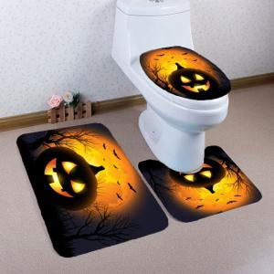 Halloween Pumpkin Withered Tree Printed 3Pcs Toilet Bathroom Mats