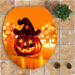 Halloween Pumpkin Candle Printed 3Pcs Bathroom Mats Set -