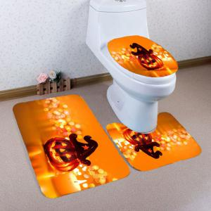 Halloween Pumpkin Candle Printed 3Pcs Bathroom Mats Set