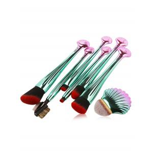 7Pcs Plated Shell Design Ombre Makeup Brushes Set - Red With Black