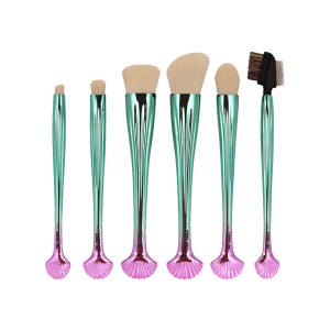 7Pcs Plated Shell Design Ombre Makeup Brushes Set - WHITE
