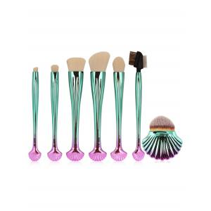 7Pcs Plated Shell Design Ombre Makeup Brushes Set