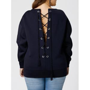 Plus Size Lace Up Sweatshirt