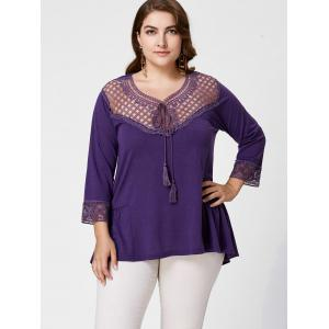 Panneau en crochet Plus Size High Low Blouse - Pourpre XL