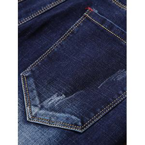Straight Leg Zip Fly Patch Jeans - Bleu Foncé 36