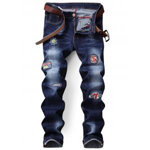 Straight Leg Zip Fly Patch Jeans