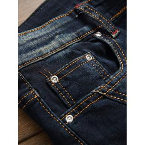 Flap Pocket Zip Fly Plissé Biker Jeans - Kaki 34