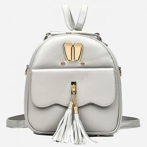 Tassels 4 Pcs Faux Leather Backpack Set - SILVER GRAY