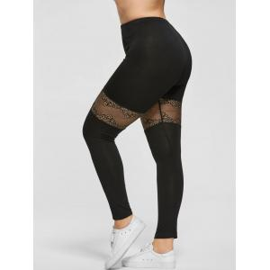 Plus Size Lace Trim Sport Leggings
