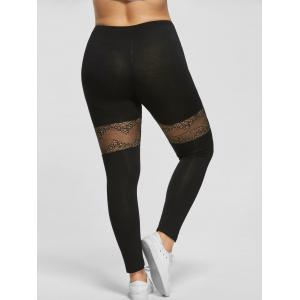 Plus Size Lace Trim Sport Leggings - BLACK 4XL