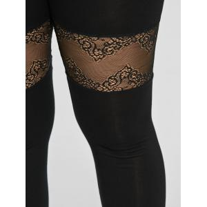 Plus Size Lace Trim Sport Leggings - BLACK 5XL