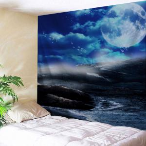 Moon Sea Rocks Print Tapestry Wall Hanging Art Decoration - Blue - W79 Inch * L71 Inch