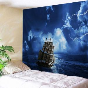 Lightning Ocean Ship Print Tapestry Wall Hanging Art Decoration - Blue - W79 Inch * L71 Inch