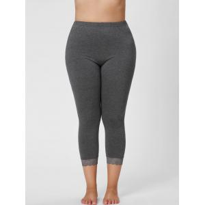 Leggings taille grand en dentelle - Gris 2XL
