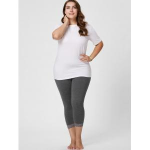 Plus Size Lace Hem Skinny Capri Leggings - GRAY 5XL