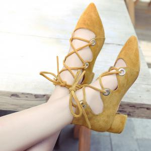 Lace Up Pointed Toe Chunky Heel Pumps -